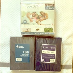 King size fitted sheets and mattress protector